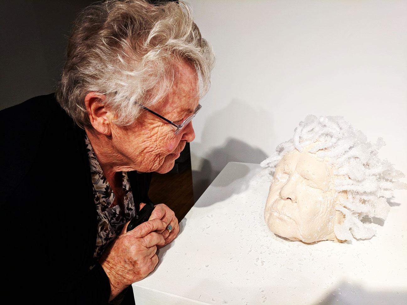 oma head crystal sculpture esther hernandez
